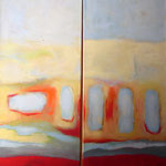 Am Anfang I + II, Acryl auf Leinwand, 2006, je 140 x 40 cm