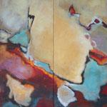Bewegte Zeiten III+IV, je 140 x 60 cm,  Öl und Acryl auf Leinwand