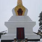 Der Stupa mit unseren Hunden davor