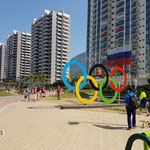 Auch im olympischen Dorf waren die Ringe ein beliebtes Fotomotiv