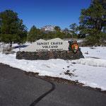 Der höchste Punkt der Bergstrecke ist nach 17,5km erreicht, am Fuße des Sunset Crater Volcano