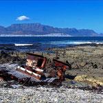 Robbeneiland met zicht op de Tafelberg in Kaapstad.