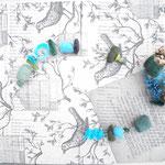 Filzobjektkette in türkis-blau