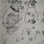 Biografische Collage, Kopie auf Transparentpapier, Monotypie , Kinderzeichnung