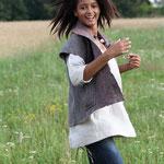 glockiges Leinenhemd -natur- mit Wollwalkgilet