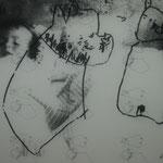 Biogtrafische Collage, Kopie auf Transparentpapier, Mischtechnik, Foto, Monotypie, Kinderzeichnung