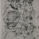 Biografische Collage, Kopie auf Transparentpapier, Mischtechnik, 29x42 cm