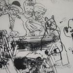 Biografische Collage , Kopie auf Transparentpapier, Mischtechnik