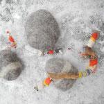 umfilzte Steine und Schalen, Filzobjektkette