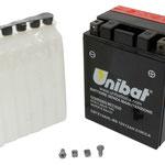 Unibat Wartungsfrei CBTX14AHL-BS (12 V 12 AH) (51216), Maße in mm :(LxBxH) 134x89x166, Gewicht : 4 kg, Batterieleistung im kalten Zustand(CCA): 210