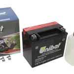 Unibat Wartungsfrei CBTX12-BS (12 V 10 AH) (51012), Maße in mm :(LxBxH) 150x87x130, Gewicht : 3,5 kg, Batterieleistung im kalten Zustand(CCA): 180