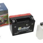 Unibat Wartungsfrei CBTX9-BS (12 V 8 AH) (50812), Maße in mm :(LxBxH) 150x87x105, Gewicht : 2,5 kg, Batterieleistung im kalten Zustand(CCA): 120