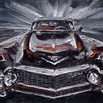 Bonnie and Clyde - Black Cadillac - huile sur toile 60x92 cm