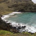 die einzige Bucht mit grünem Sand