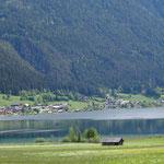 Am Weissensee bei der Bergbahn beginnt unsere Wanderung