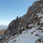 kurz vor dem Gipfel die ersten Schneefelder