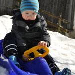 Simon beim Bobfahren