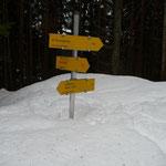 die Wegweiser ragen aus dem Schnee