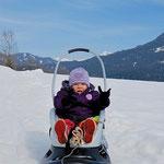 Johanna beim Bobfahren