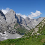 Blick vom Valentintörl (2100m) zum Wolayersee