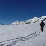 Siegi zieht eine Spur im Schnee