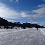 derzeit viele Leute auf dem Eis unterwegs