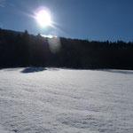 der Schnee glitzert in der Sonne