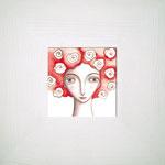 NINFA ROJA. Acuarela y lápiz sobre papel. 11 x 11cm. (25,5 x 25,5cm con marco). No disponible.