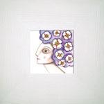 NINFA AZUL. Acuarela y lápiz sobre papel. 11 x 11cm. (25,5 x 25,5cm con marco). No disponible.