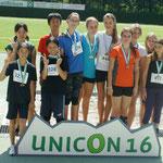 Einrad-Weltmeisterschaft UNICON 16, Brixen, Juli 2012: Staffelsieger (Gold: EVB-1, Silber: EVB-2)