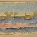 'Sunset'  #a-1/ aquarelverf op Indiaanse handgeschept papier(lompen), 15x21cm2013/ sold