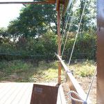 屋根シートの補強にロープを使用