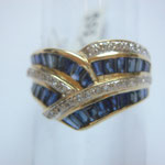 Ring, yellowgold 750, with 32 brillants approx. 0.26ct & 31 blue sapphirs approx. 2.30ct, CHF. 955.-