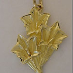 "Pendant ""Gentian"", yellowgold 750, 25mm, CHF. 480.-"