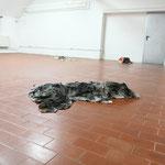 """Aldo Mozzini, """"Venere"""", 2017/18, stracci da calcografia, giornali; ph. Luca Scarabelli"""