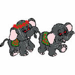 2 Elefanten , 97x50 mm, 7303 Stiche