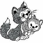 Katze mit Kind, 97x90 mm, 3500 Stiche,  nicht ausgefüllt, nur auf hellen Farben möglich