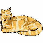 Katze gelbbraun liegend, 100x68 mm, 11032 Stiche