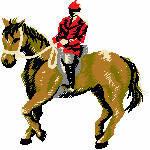 Pferd mit Reiter, 98x99 mm, 10953 Stiche