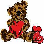 Bär mit Herzen, 99x99 mm, 7428 Stiche