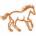 Pferd einfarbig, 75x58 mm, 1700 Stiche,  nicht gefüllt, andere Farben der Stickerei möglich