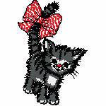 Katze mit Schleife im Schwanz, 85x129 mm, 7806 Stiche,