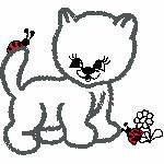 Katze mit Käfer, 128x116 mm, 6030 Stiche,  nicht ausgefüllt, auf helle Farbe empfohlen