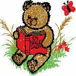 Bär mit Buch, 99x98 mm, 8376 Stiche