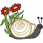 Schnecke mit Blumen, 97x81 mm, 4421 Stiche,  nicht ausgefüllt, auf helle Farbe empfohlen