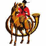 Reiter mit Horn, 75x99 mm, 6775 Stiche
