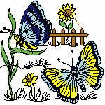 Schmetterlinge im Garten,100x100 mm, 12064 Stiche