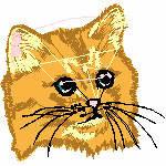 Katzenkopf gelbbraun, 99x94 mm, 12413 Stiche