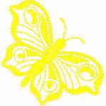 Schmetterling einfarbig, 68x70 mm, 2181 Stiche, nicht gefüllt, andere Farben der Stickerei möglich