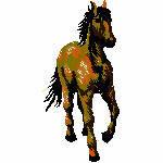 Pferd im Schritt, 46x97 mm, 5982 Stiche